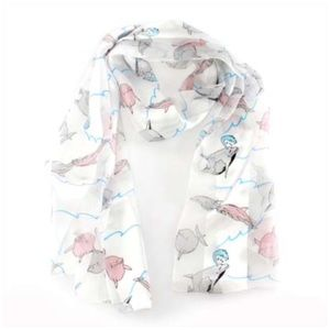 Dolphins print oblong striped satin scarf